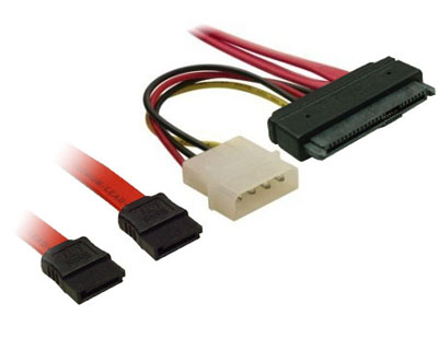 Internal SAS 29pinSFF 8482 To 2 Port SATA 7pin With IDE Big 4pin Power 16cm Cable