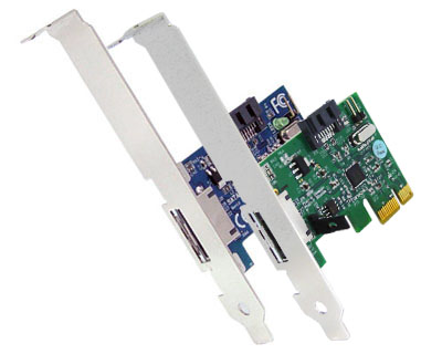 2 port SATA II PCI Express Card (1xExternal+1xInternal ports